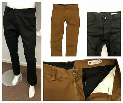 Volcom Mens Straight Fit Pants Chino Smart Casual Trousers  -Black or Brown