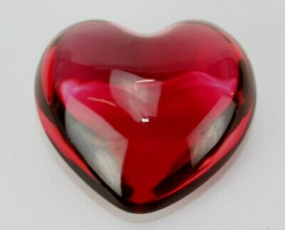 Baccarat France French Crystal Red Valentine Cupid Heart Glass Paperweight KBA