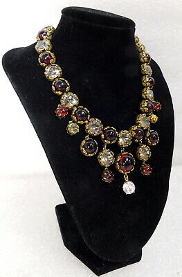 Antique Edwardian Victorian Fine Costume Czech Glass Crystal Necklace Collar Bib