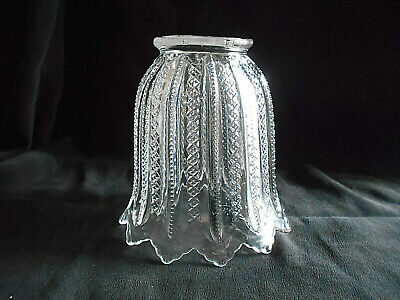 "Antique Glass Lamp/Light Shade~2 1/4"" Fitter X 4 1/2"" H~L9"
