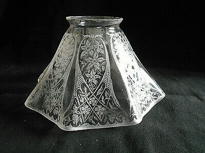 "Antique Acid Etched Glass Lamp/Light Shade~2 1/4"" Fitter X 3 1/2"" H~L11"