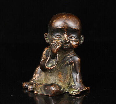 China Collectible Hand-Carved Red Copper Buddhist Monk Statue Desktop Decoration