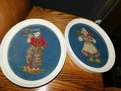 Dutch Boy and Girl Needlepoint Pictures in Oval Frames Vintage Handmade