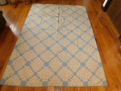Jacob's Ladder Cutter Quilt TLC Blue and White Handmade Hand Tie Vintage Cotton