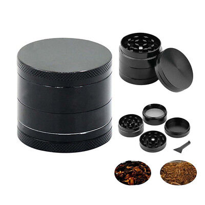 4-Layers 40MM  Black Tobacco Herb Grinder Spice Herbal Zinc Alloy Smoke New