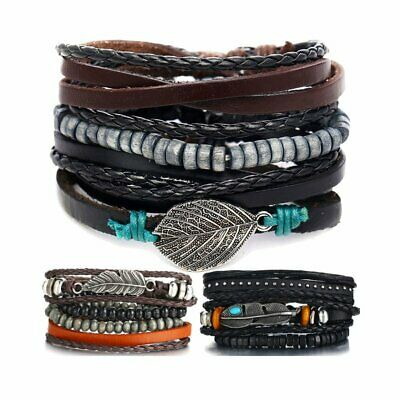 3/4p Mens Punk Leather Feather Wrap Braided Wristband Cuff Bangle Bracelets Set