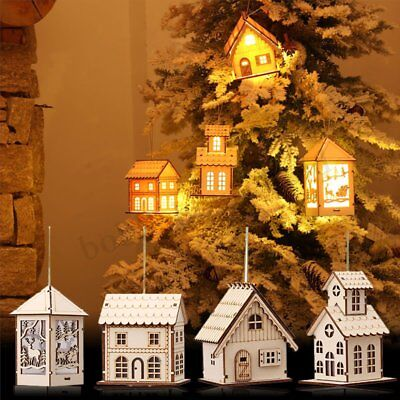 Christmas Wooden House LED Lights Interior Xmas Tree Hanging Ornament Toy