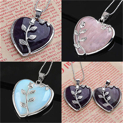 Charm Women Heart Healing Mineral Gemstone Pendant Chakra Reiki Necklace Jewelry