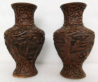 Antique old authentic Chinese rosewood deep relief carved vase pair Ancient