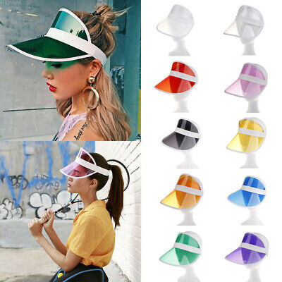 PVC Summer Hat Sun Visor Party Casual Hat Clear Plastic Adult Sunscreen Cap NEW