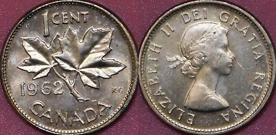 Brilliant Uncirculated 1962 Canada 1 Cent From Mint's Roll Maybe Toned