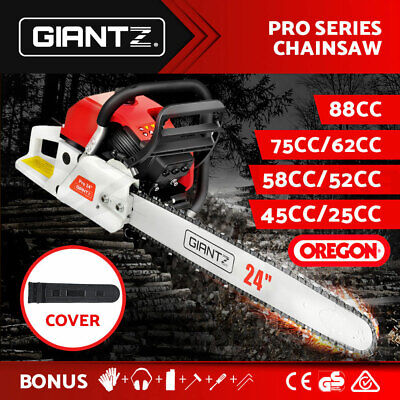 GIANTZ Petrol Chainsaw Commercial Chain Saw E-Start 92/88/75/62/58/52/45/25CC