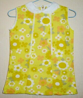 AUTHENTIC VINTAGE 70s UNWORN GIRLS YELLOW FLORAL PLEAT DRESS AGES 12 & 24 months