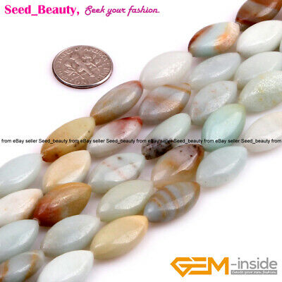 """Natural Marquise Mixed-color Amazonite Loose Beads For Jewelry Making 15"""" DIY"""