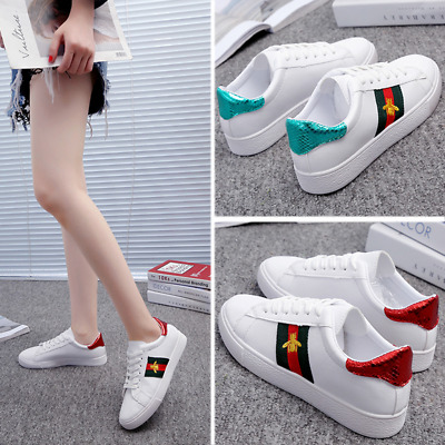 262fc498dca Women's Bee Embroidery Casual White Flat Shoes Sneakers Student's  Comfortable