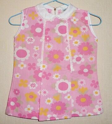 AUTHENTIC VINTAGE 70's UNWORN GIRLS PINK FLORAL PLEAT DRESS AGES: 12 & 24 months