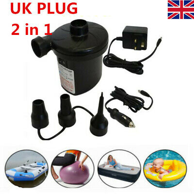 Electric Air Pump Inflator for Inflatables Camping Bed pool 240V 12V Car & home