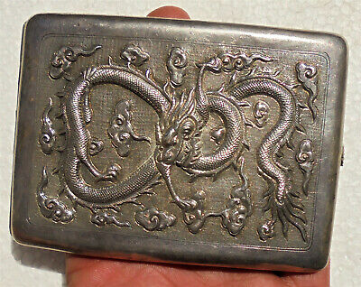 CINA (China): Old Chinese repousse silver cigarette case with dragon