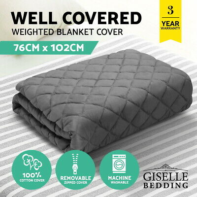 Giselle Bedding Weighted Blanket Cotton Zipper Cover Kids Size 76cm x 102cm Grey