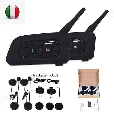2x Bluetooth Moto Casco Interfono Cuffie Auricolari 6 Ciclista 1200M Citofono IT