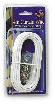 4m Net Curtain Wire White Window Cord Cable With 16 HOOKS & EYES