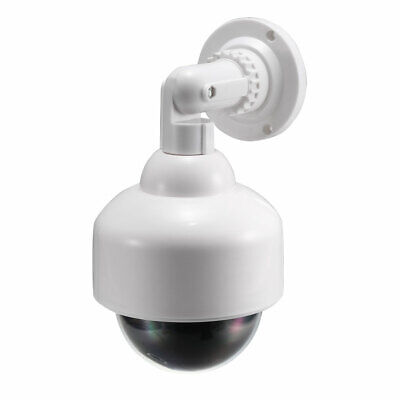 Fake Security Camera Dummy Dome CCTV with Blinking Red LED Light, Sticker White