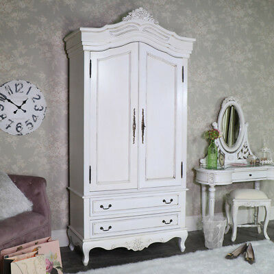 Large double wardrobe antique cream solid mahogany wood vintage French bedroom