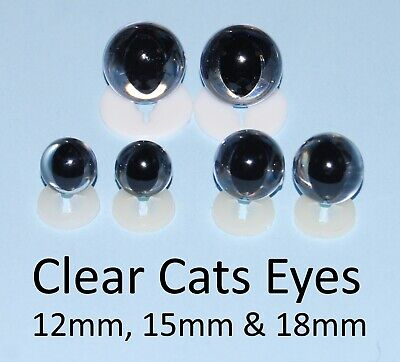 CLEAR CATS EYES PLASTIC BACKS - Teddy Bear Making Soft Toy Doll Animal Craft