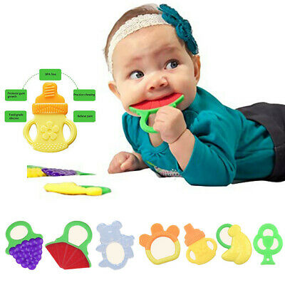 New Cute Toddlers Infants Baby Teething Toys Soft Silicone Fruit Teether Holder