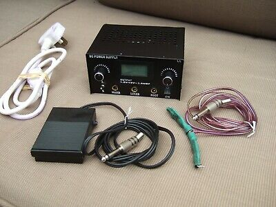 Tattoo Gun DC Power Supply LCD With Clip Cord & Foot Pedal Excellent Condition