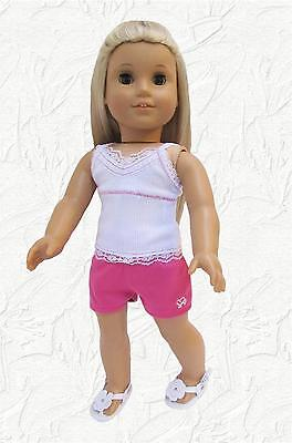 Doll Clothes Pink Sport Shorts w/White Camisole Made for 18 inch American Girl