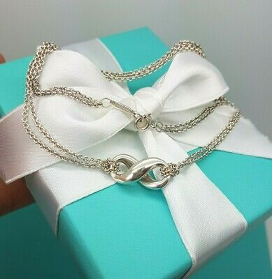 Tiffany & Co Infinity Pendant Double Chain Sterling Silver Necklace 16""