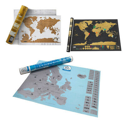 School Decoration Black World Map Poster for Gift Stickers Scratch Off