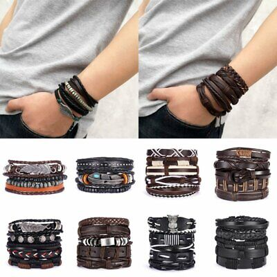 Boho Multilayer Mens Punk Leather Wrap Braided Wristband Cuff Bracelet Bangle