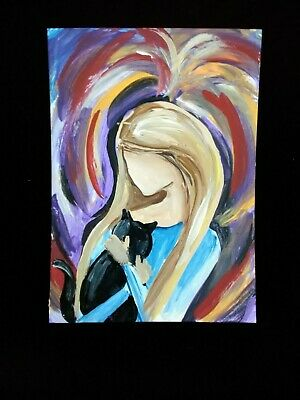 BLACK CAT WOMAN painting original ARTIST TRADING CARD signed ACEO RAINBOW ANGEL