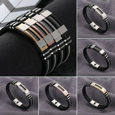 Fashion Mens Stainless Steel Leather Bracelet Wristband Cuff Punk Bangle Jewelry