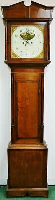 Antique English 18thC 8 Day Oak & Mahogany Moonphase Grandfather Longcase Clock