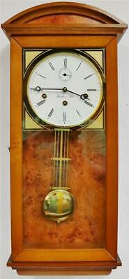Vintage Walnut & Birds Eye Maple Hemle & Sohn Triple Train Musical Wall Clock