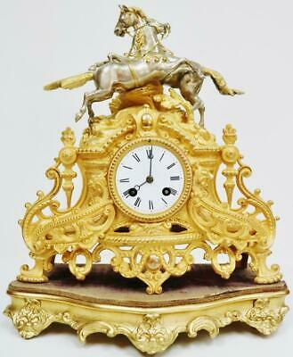 Antique French 8 Day Striking Gilt Metal & Silvered 2 Race Horse Mantle Clock