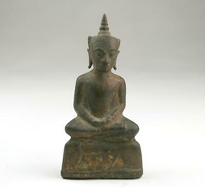 16/17thC Antique Thai Ayutthaya Bronze Figure Crowned Buddha Shakyamuni