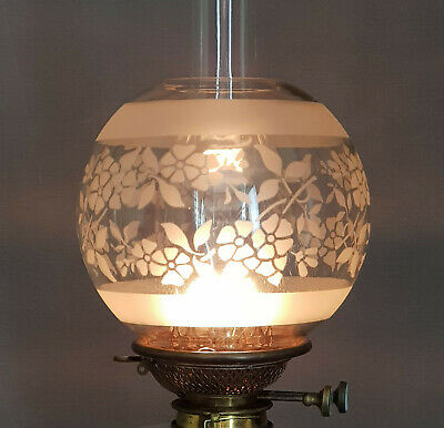 Victorian Sand Etched Flowers Kerosene Duplex Oil Lamp Shade
