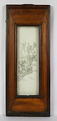Fine Antique 19thC Chinese Qing Wood Framed Porcelain Relief Floral Wall Plaque