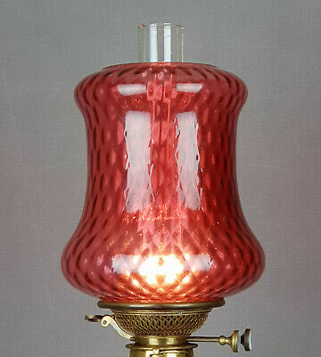 Victorian Cranberry Glass Kerosene Oil Gas or Candle Hall Lamp Shade
