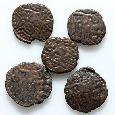 Lot Of 5 Uncertain India Bronze Hammered Coins Circa 1000 Ad