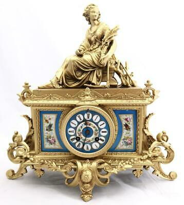 Antique French Mantle Clock 1880's Stunning Gilt & blue Sevres Striking Figural