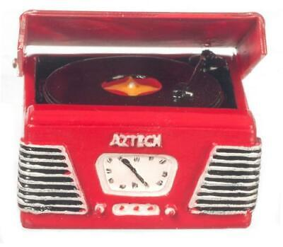 MINIATURE DOLLHOUSE 1:12 SCALE 1950s RETRO  RECORD PLAYER/TURNTABLE - T8531