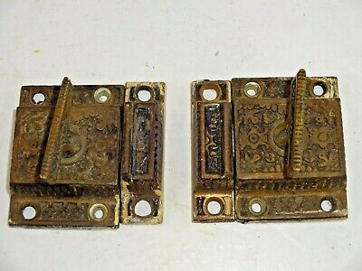 Lot of (2) Ornate Victorian Cast Iron Jelly Cupboard Cabinet Door Latches