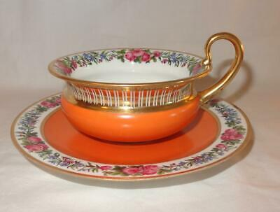 19th Century Empire Period SEVRES French Etruscan Cup & Saucer - Rare Colour