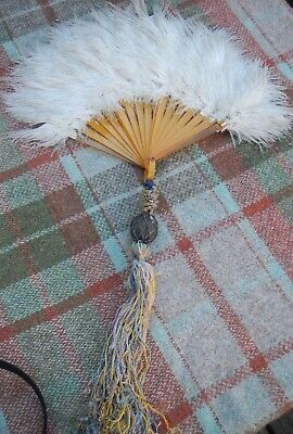 Antique Art Deco Ostrich Feather Fan~Butterscotch Celluloid Staves~Silk Tassel