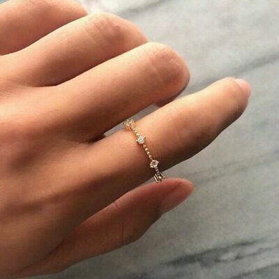 925 Silver Plated Small Sapphire Tiny Thin Tail Ring Wedding Jewelry Exquisite